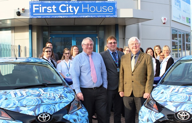 Keith Trowbridge and Stephen Trowbridge of First City Nursing with Councillor Brian Ford
